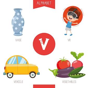 Alfabeto letra v e imagens