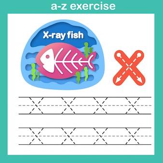 Alfabeto letra xx ray peixe exercício, papel cortado conceito ilustração em vetor