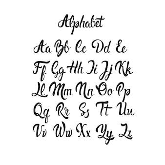 Alfabeto letras coleção texto lettering set ilustração vetorial