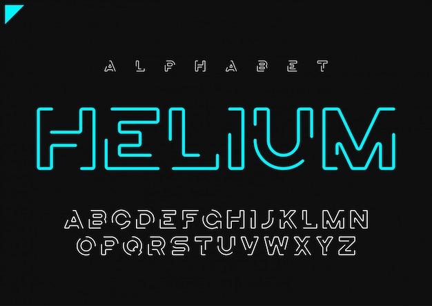 Alfabeto linear futurista minimalista de hélio vector, tipo de letra, l