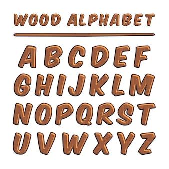 Alfabeto madeira tipografia madeira letras fonte