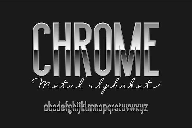 Alfabeto moderno condensado de cromo. fonte de metal sem serifa. letras de prata de tipografia de tecnologia.