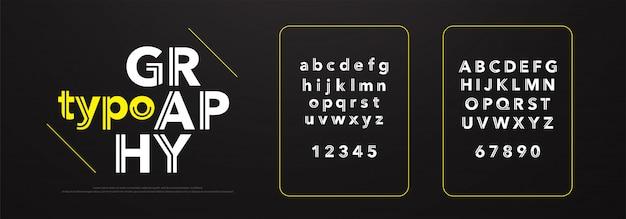 Alfabeto moderno fontes e números. tipografia