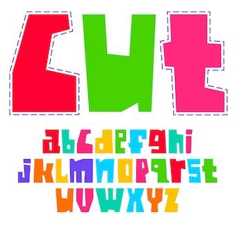 Alfabeto moderno, letras coloridas brilhantes, maiúsculas