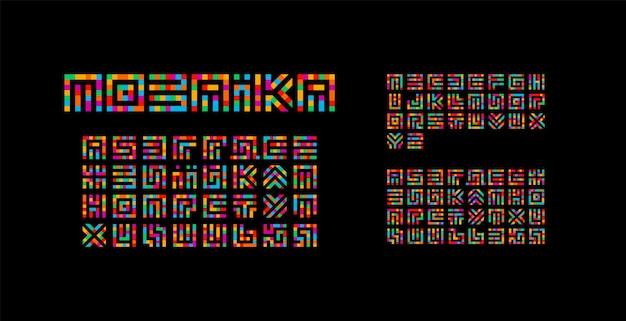 Alfabeto mosaico ucraniano, inglês e russo. design de tipografia de labirinto. letras latinas de vetor de estilo de arte criativa de quadrados.