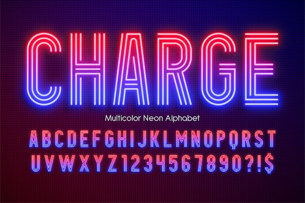 Alfabeto multicolor de luz de néon, tipo moderno extra brilhante. controle de cores de amostra.