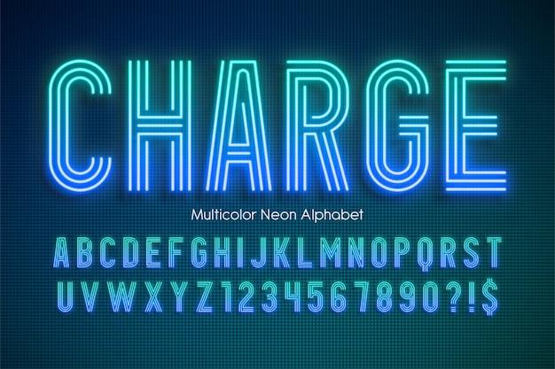 Alfabeto multicolorido com luz néon brilhando modelo moderno