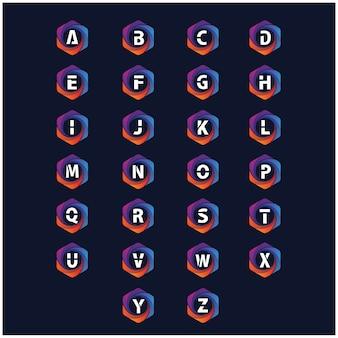 Alfabeto na coleção de vetor hexagonal logotipo colorido