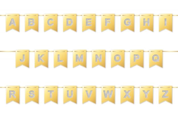 Alfabeto na guirlanda de bandeira de papel dourado