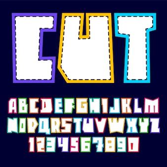 Alfabeto na moda, branco vetor letras e números