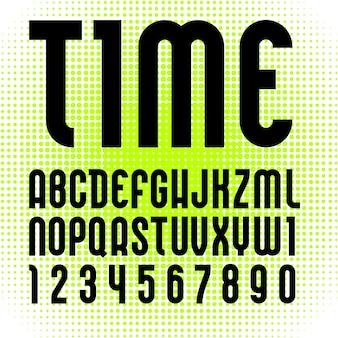Alfabeto na moda, letras modernas pretas