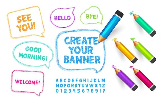 Alfabeto no estilo de um desenho, lápis de cor e conjunto de balões de fala com mensagens curtas