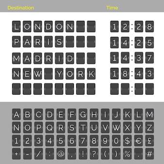 Alfabeto, números e símbolos do placar preto.