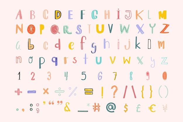 Alfabeto, números, pontuação, doodle, fonte, pastel, conjunto