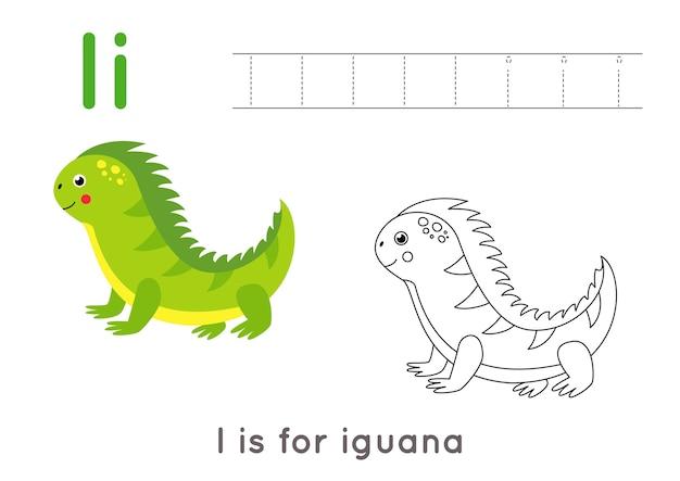 Alfabeto para colorir para crianças. atividade básica de redação. planilha de letras abc de rastreamento. letra i com iguana fofa.