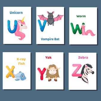 Alfabeto para impressão flashcards coleção de vetores com a letra uvwxy z. animais do jardim zoológico para o ensino da língua inglesa.
