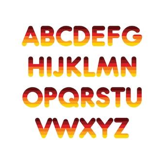 Alfabeto passo gradiente tipografia modelo de fonte caracteres coloridos do alfabeto com a cor da bandeira alemã
