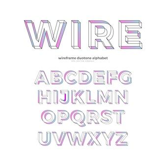 Alfabeto pastel de wireframe
