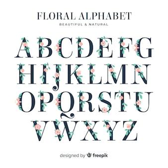 Alfabeto plano com flores