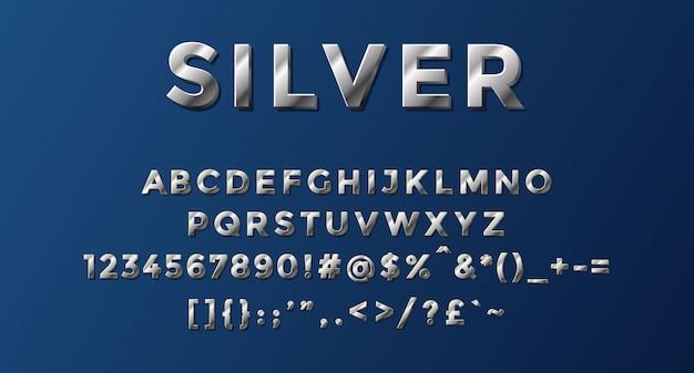 Alfabeto prateado completo com números e símbolos