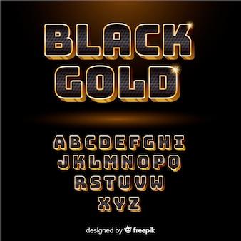 Alfabeto preto e dourado