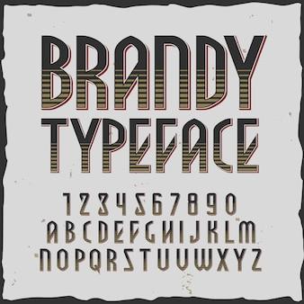 Alfabeto quadrado de conhaque com estilo vintage