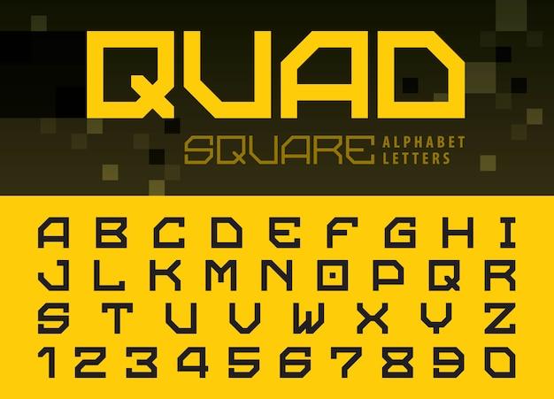 Alfabeto quadrado letras e números