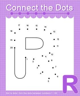 Alfabeto r conecte os pontos contando os números, ponto a ponto, jogos para crianças