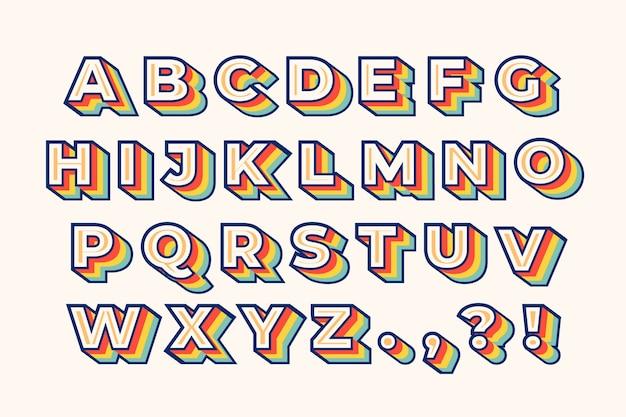 Alfabeto retrô 3d colorido