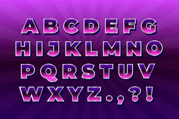 Alfabeto retrô 3d gradiente