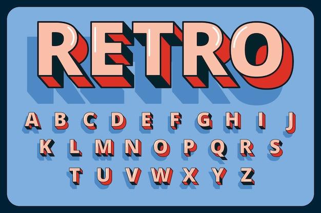 Alfabeto retrô colorido tridimensional