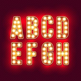 Alfabeto retrô. letras vintage realistas. lâmpadas de néon. letras retrô vermelhas. conjunto de cartas antigas do vintage. brilho na escuridão.