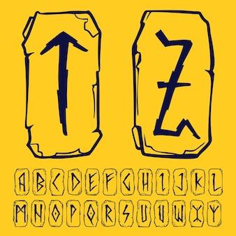 Alfabeto rúnico dos vikings. cartas de relâmpagos em fragmentos de pedras. símbolos ocultos escandinavos, pretos estampados no fundo dourado.