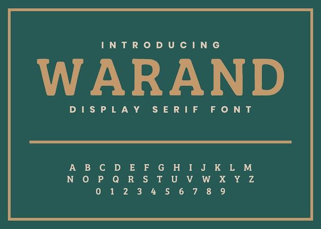 Alfabeto serif vintage e vetor de fonte numérica