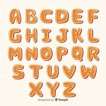 Alfabeto simples de gengibre