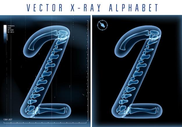 Alfabeto transparente de raio-x 3d usado em logotipo ou texto. número dois 2