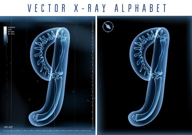 Alfabeto transparente de raio-x 3d usado em logotipo ou texto. número nove 9