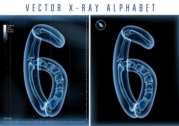 Alfabeto transparente de raio-x 3d usado em logotipo ou texto. número seis 6