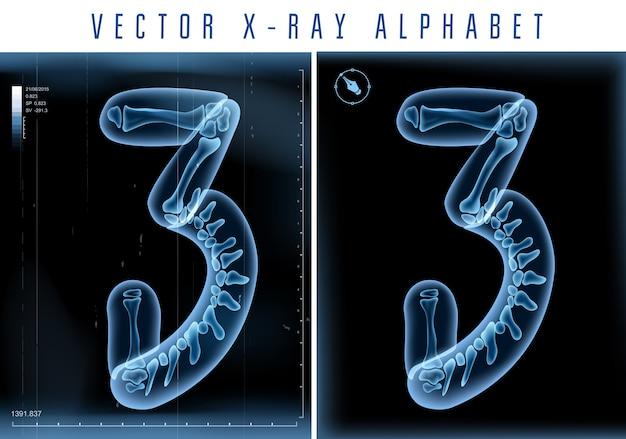 Alfabeto transparente de raio-x 3d usado em logotipo ou texto. número três 3