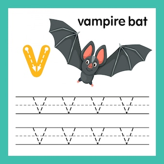 Alfabeto v exercício com ilustração de vocabulário dos desenhos animados, vetor
