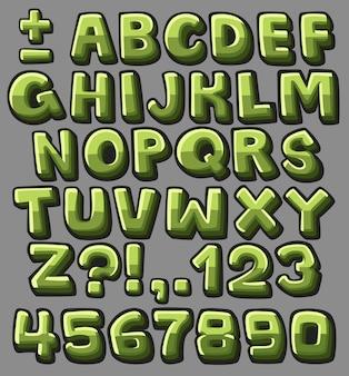 Alfabeto verde dos desenhos animados