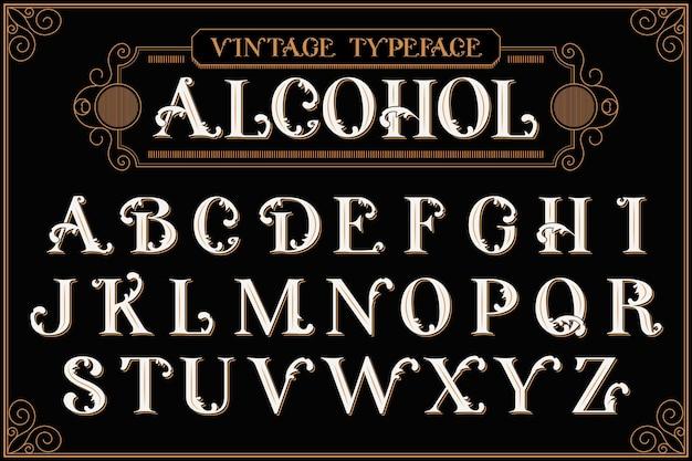 Alfabeto vintage com composição de texto