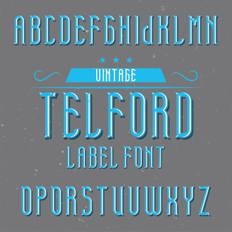 Alfabeto vintage e tipo de letra de rótulo chamado telford.