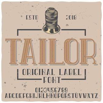 Alfabeto vintage e tipo de letra do emblema chamado tailor.