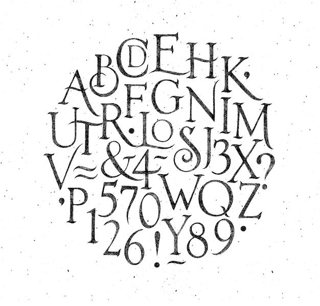 Alfabeto vintage preto