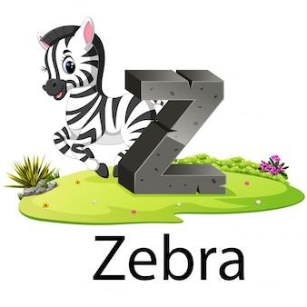 Alfabeto zoológico animal bonito z