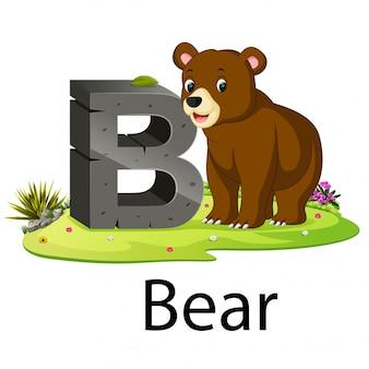 Alfabeto zoológico de animais b para urso com o animal ao lado