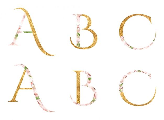 Alfabetos a, b & c com flor e folhas de aguarela