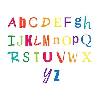 Alfabetos abc criativos em cores coloridas