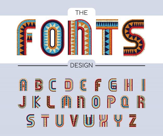 Alfabetos bordados fontes de cores boêmias onduladas